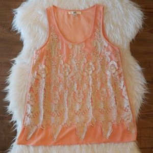 Ya Los Angeles Lace Overlay Coral Tank Top Small